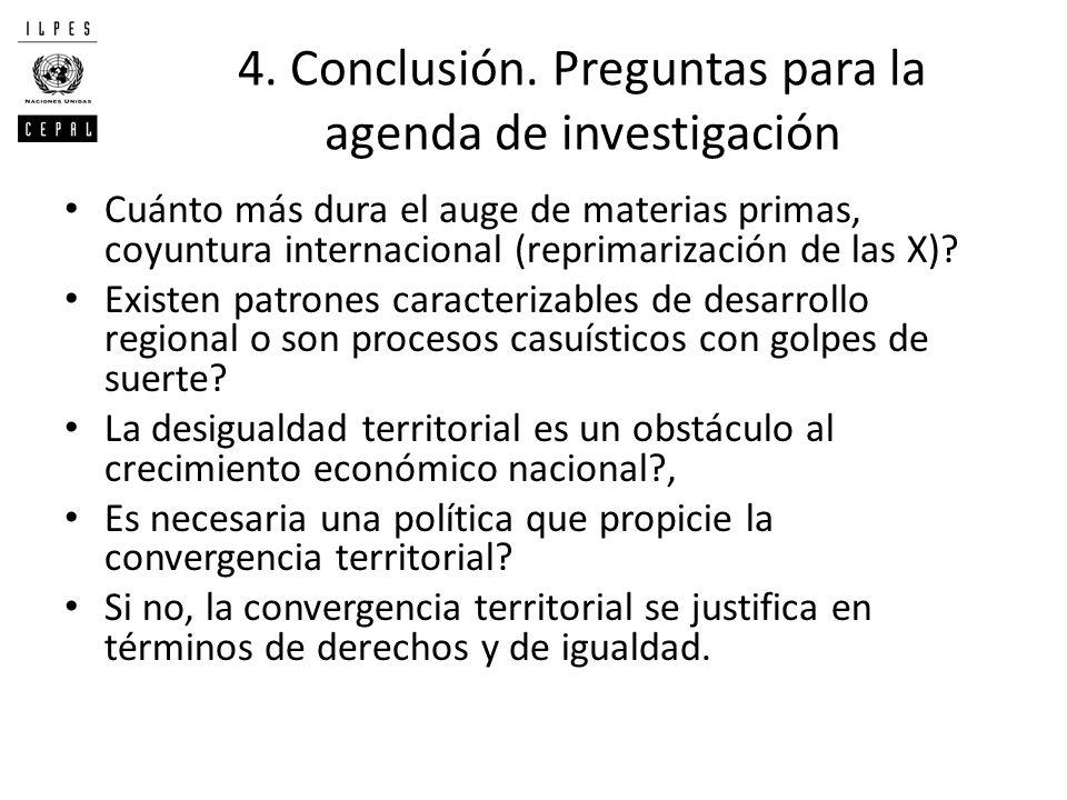 4. Conclusión. Preguntas para la agenda de investigación