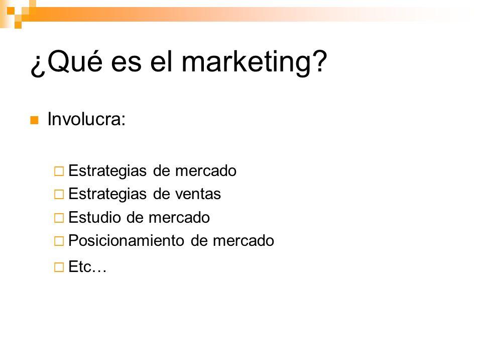 ¿Qué es el marketing Involucra: Estrategias de mercado