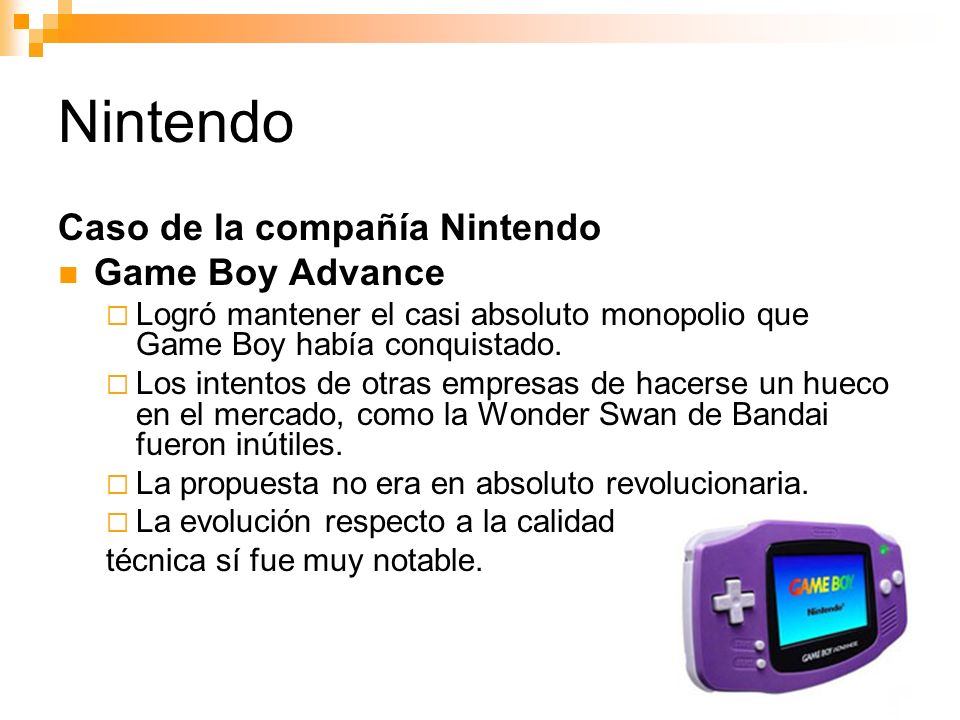 Nintendo Caso de la compañía Nintendo Game Boy Advance