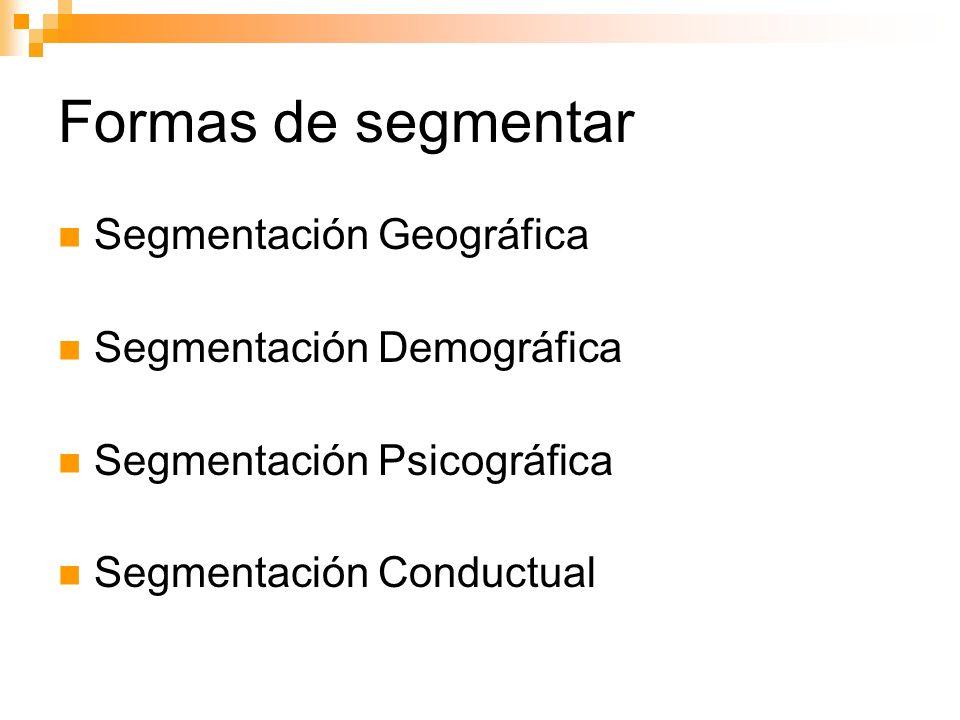 Formas de segmentar Segmentación Geográfica Segmentación Demográfica