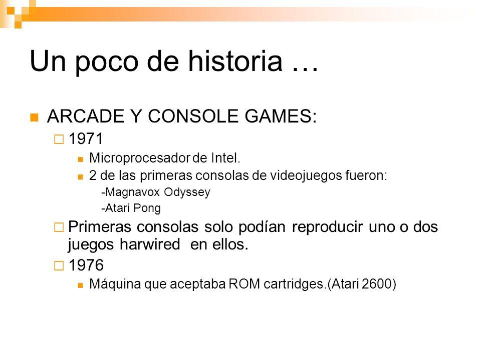 Un poco de historia … ARCADE Y CONSOLE GAMES: 1971