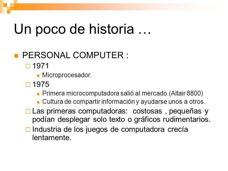 Un poco de historia … PERSONAL COMPUTER : 1971 1975