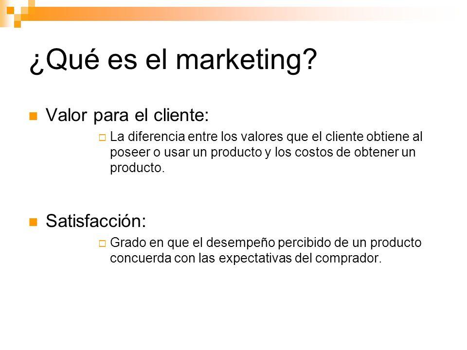 ¿Qué es el marketing Valor para el cliente: Satisfacción: