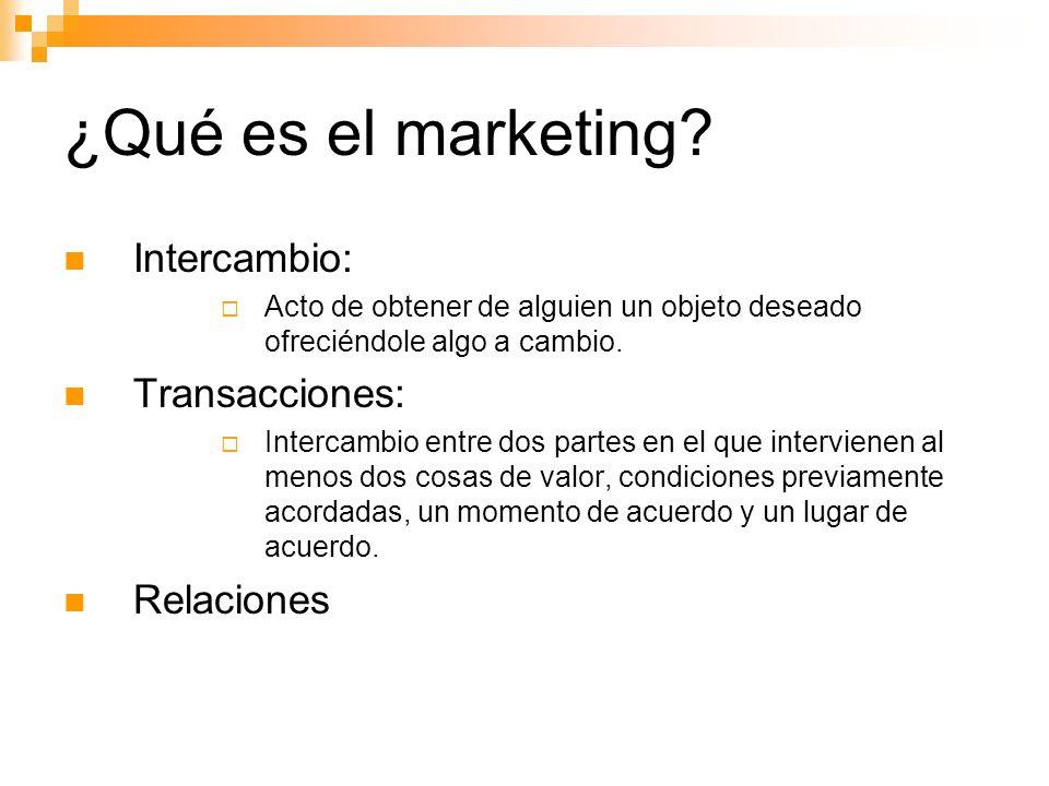 ¿Qué es el marketing Intercambio: Transacciones: Relaciones