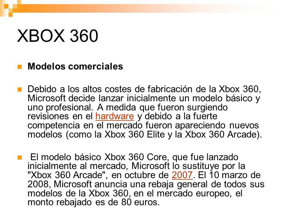XBOX 360 Modelos comerciales
