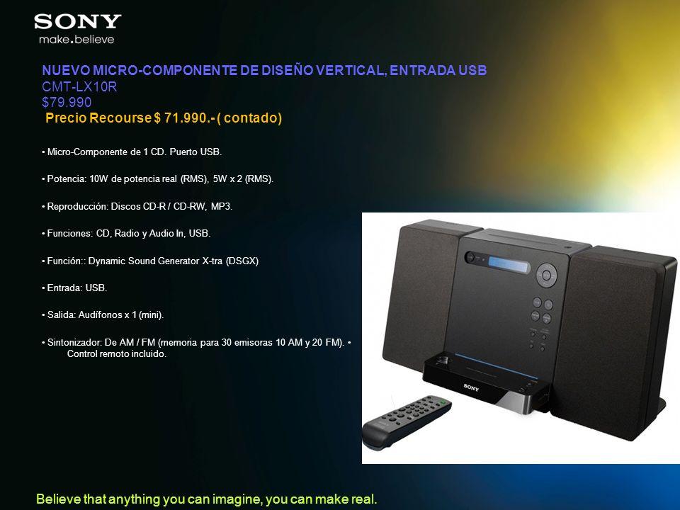NUEVO MICRO-COMPONENTE DE DISEÑO VERTICAL, ENTRADA USB CMT-LX10R $79