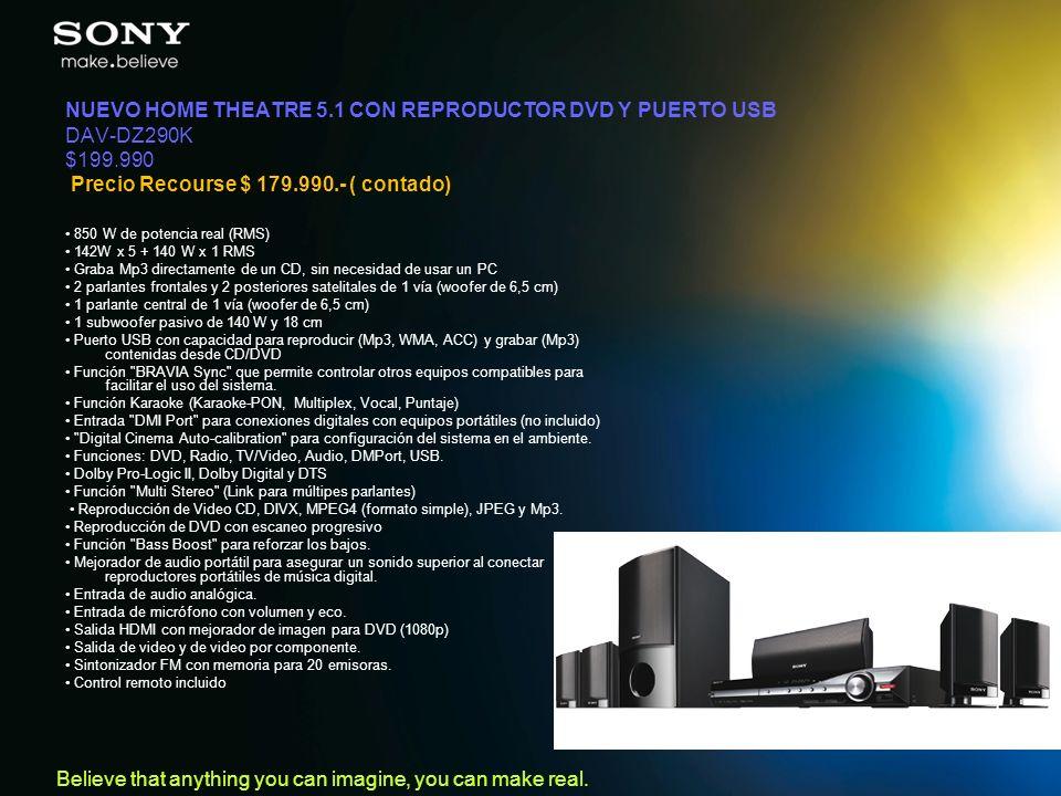NUEVO HOME THEATRE 5.1 CON REPRODUCTOR DVD Y PUERTO USB DAV-DZ290K $199.990 Precio Recourse $ 179.990.- ( contado)