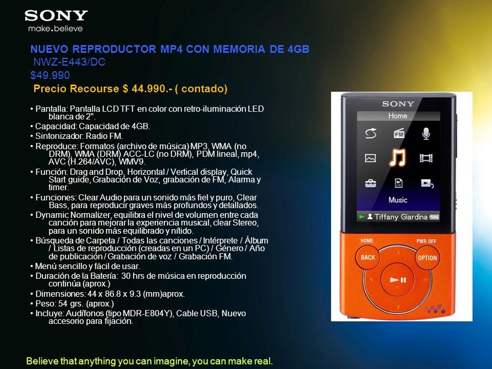 NUEVO REPRODUCTOR MP4 CON MEMORIA DE 4GB NWZ-E443/DC $49