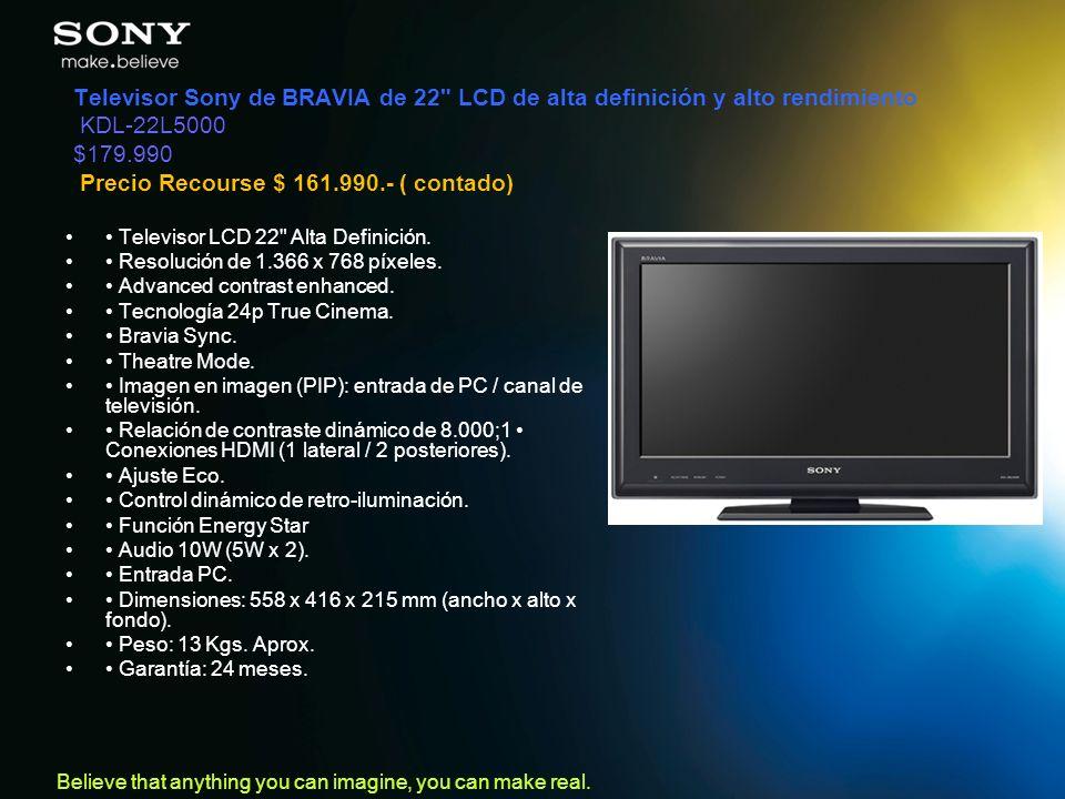 Televisor Sony de BRAVIA de 22 LCD de alta definición y alto rendimiento KDL-22L5000 $179.990 Precio Recourse $ 161.990.- ( contado)
