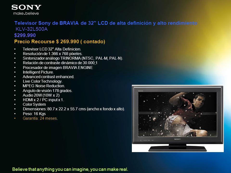 Televisor Sony de BRAVIA de 32 LCD de alta definición y alto rendimiento KLV-32L500A $299.990 Precio Recourse $ 269.990 ( contado)