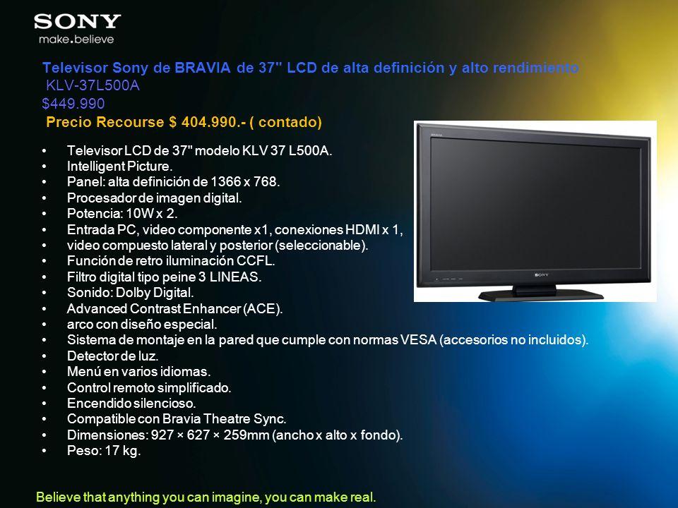 Televisor Sony de BRAVIA de 37 LCD de alta definición y alto rendimiento KLV-37L500A $449.990 Precio Recourse $ 404.990.- ( contado)