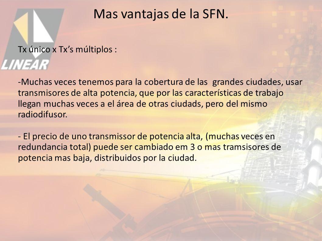 Mas vantajas de la SFN. Tx único x Tx's múltiplos :