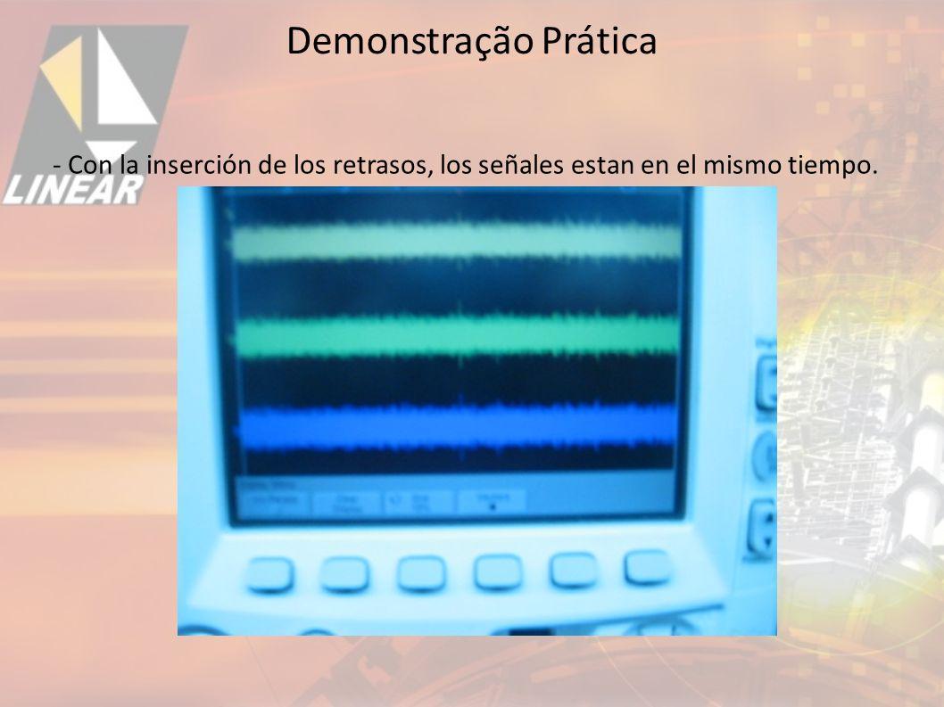 Demonstração Prática - Con la inserción de los retrasos, los señales estan en el mismo tiempo. 33