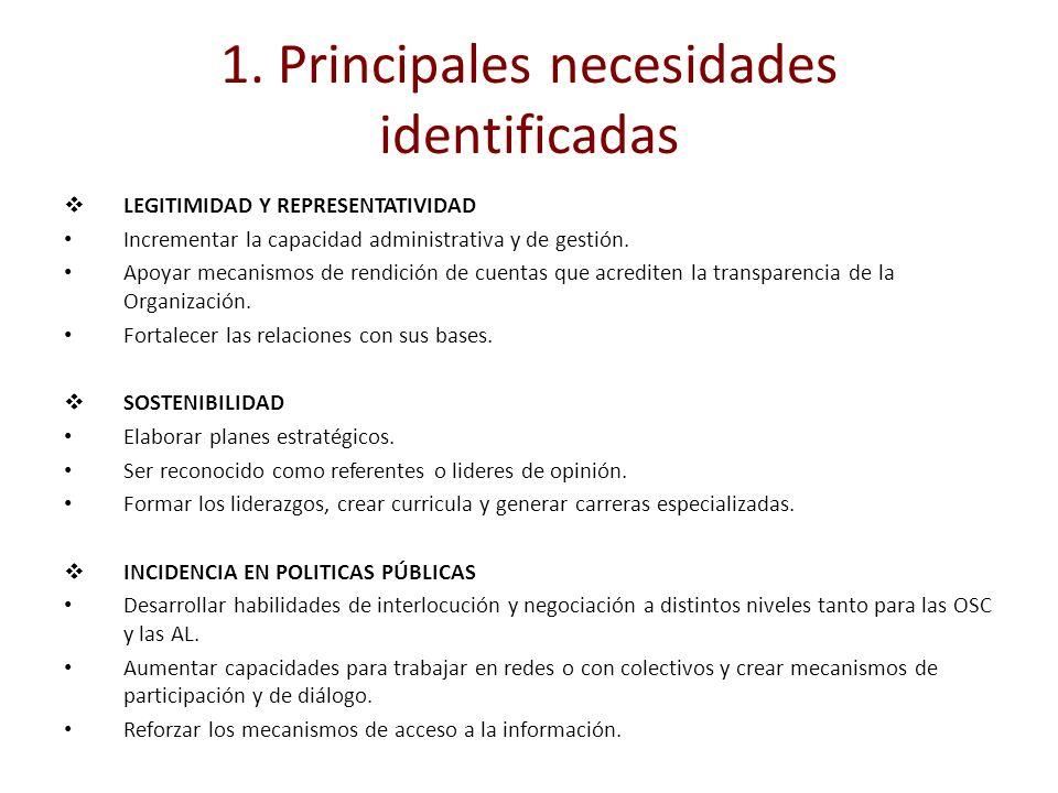 1. Principales necesidades identificadas