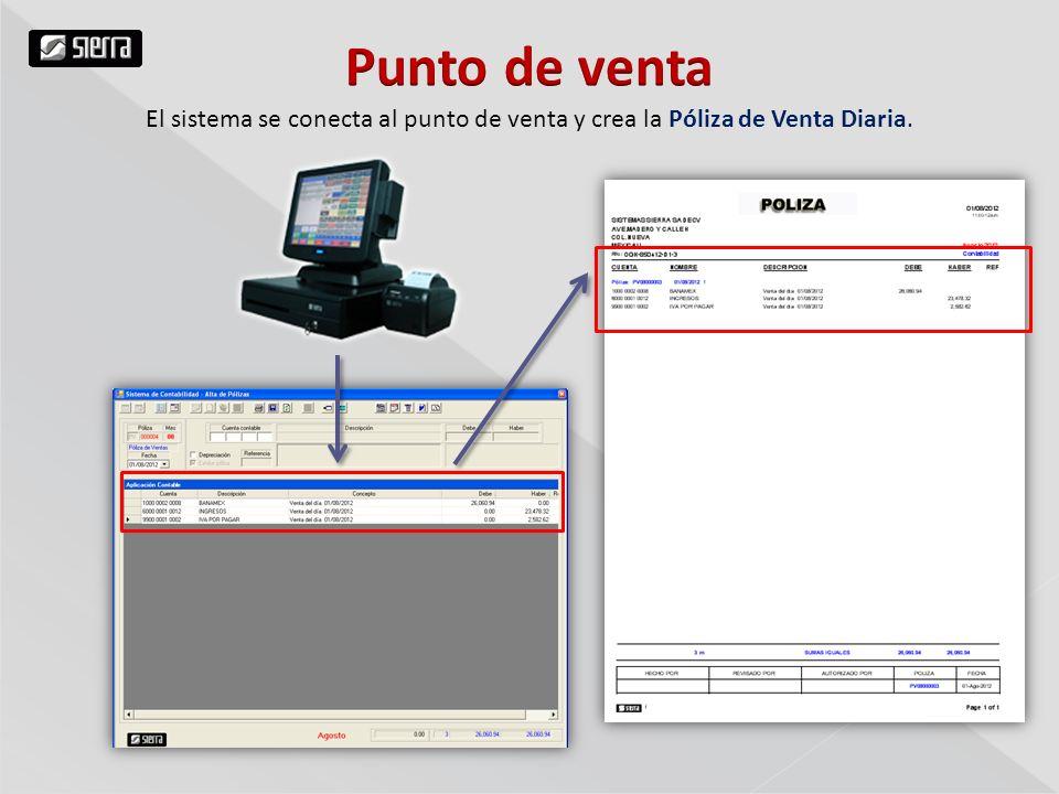 Punto de venta El sistema se conecta al punto de venta y crea la Póliza de Venta Diaria.
