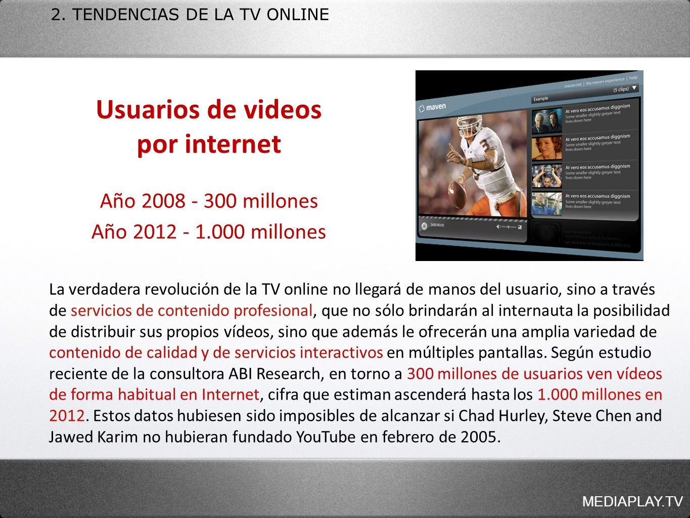 Usuarios de videos por internet