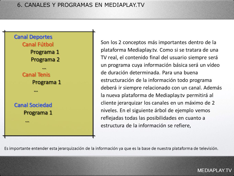 6. CANALES Y PROGRAMAS EN MEDIAPLAY.TV