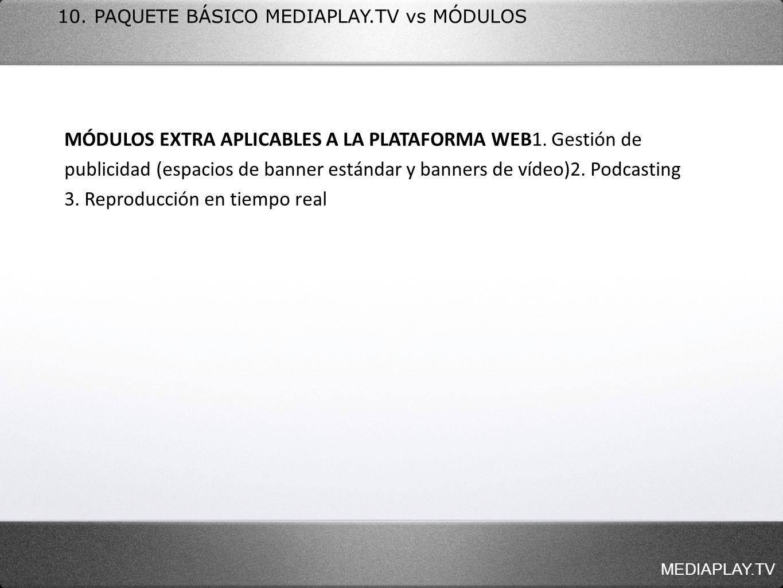 10. PAQUETE BÁSICO MEDIAPLAY.TV vs MÓDULOS