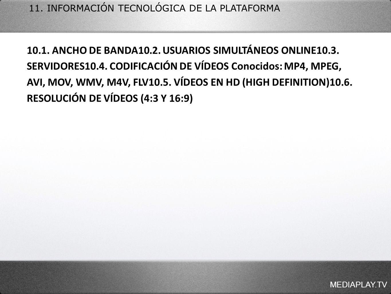11. INFORMACIÓN TECNOLÓGICA DE LA PLATAFORMA