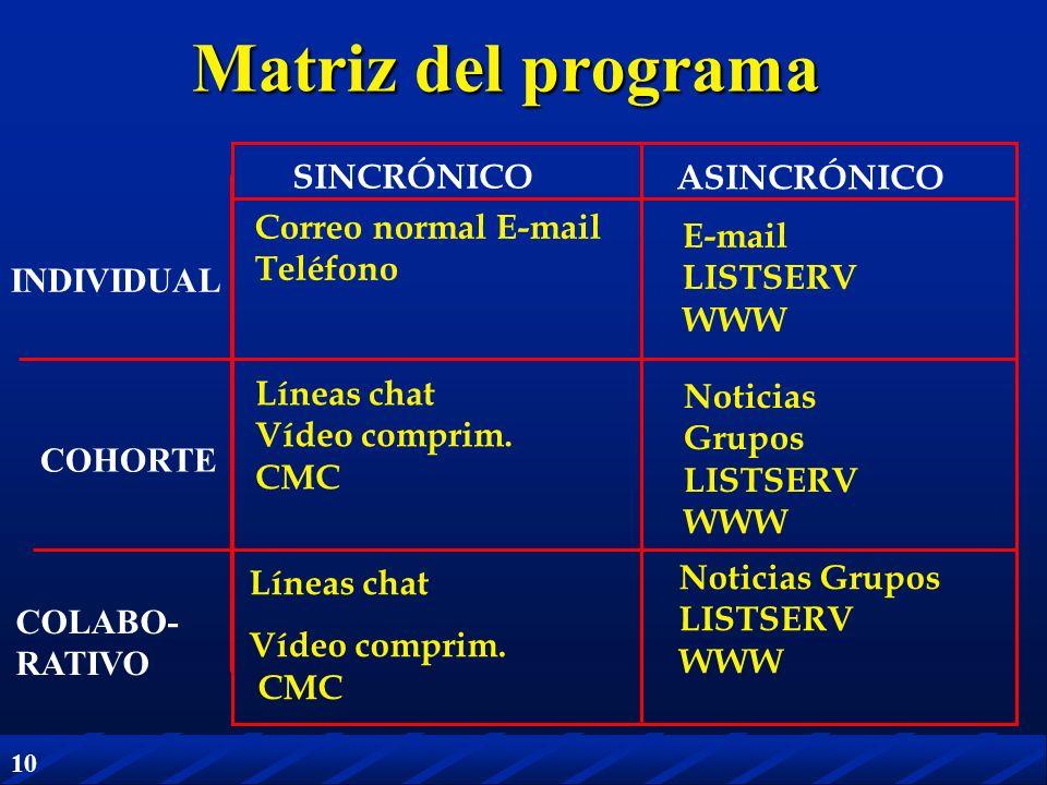 Matriz del programa SINCRÓNICO ASINCRÓNICO