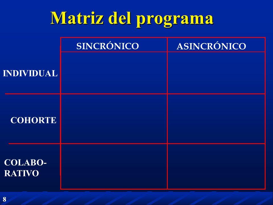 Matriz del programa SINCRÓNICO ASINCRÓNICO INDIVIDUAL COHORTE COLABO-