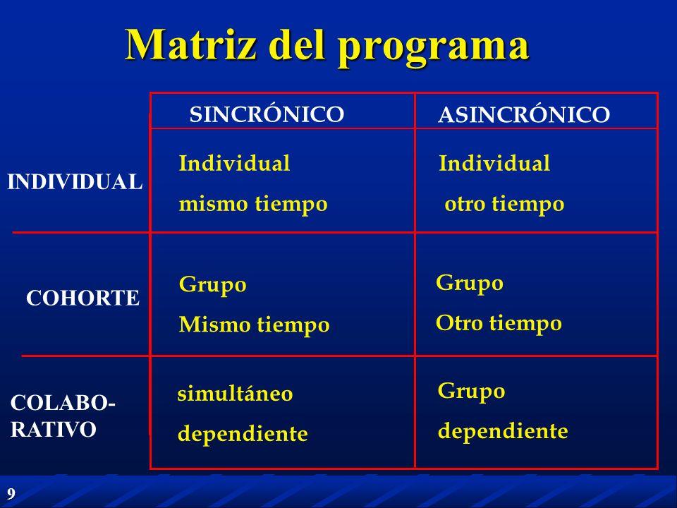 Matriz del programa SINCRÓNICO ASINCRÓNICO Individual mismo tiempo