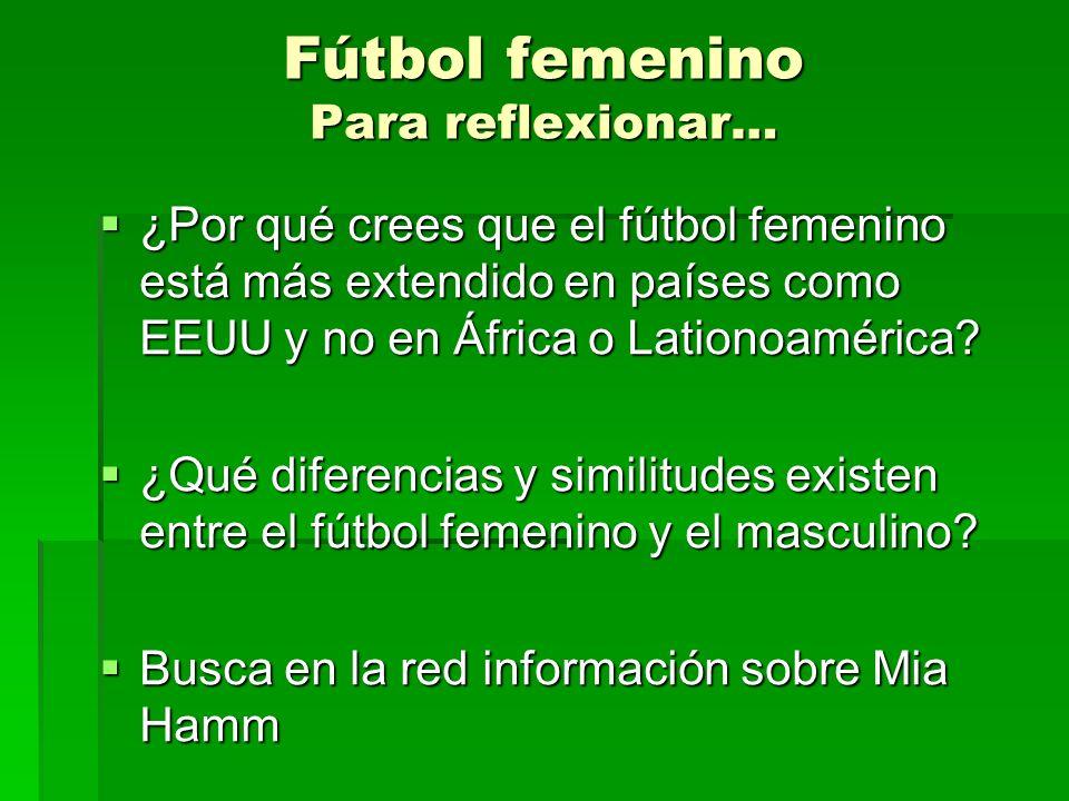 Fútbol femenino Para reflexionar…