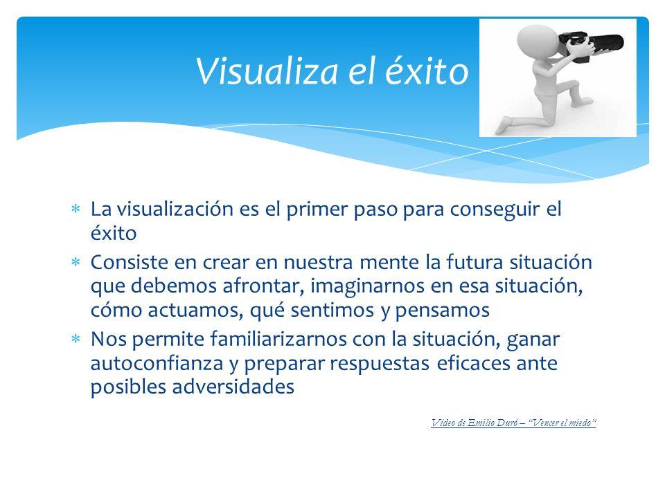 Visualiza el éxito La visualización es el primer paso para conseguir el éxito.