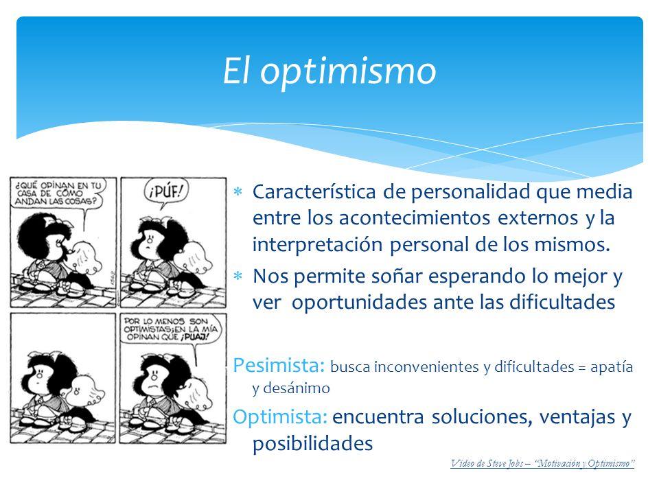 El optimismo Característica de personalidad que media entre los acontecimientos externos y la interpretación personal de los mismos.