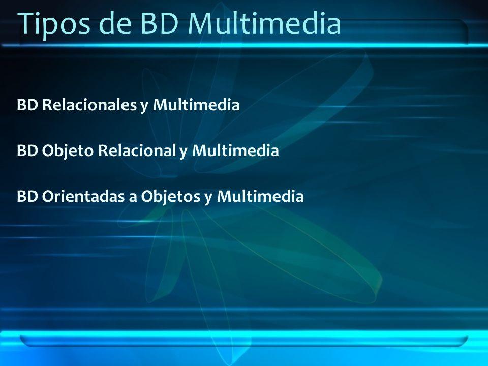 Tipos de BD Multimedia BD Relacionales y Multimedia