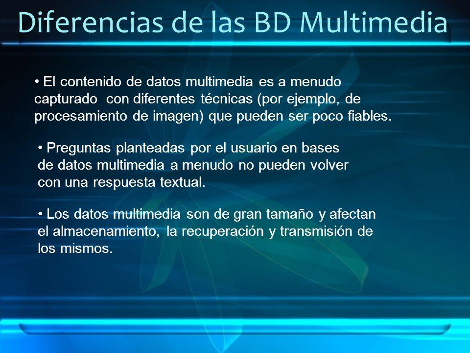 Diferencias de las BD Multimedia