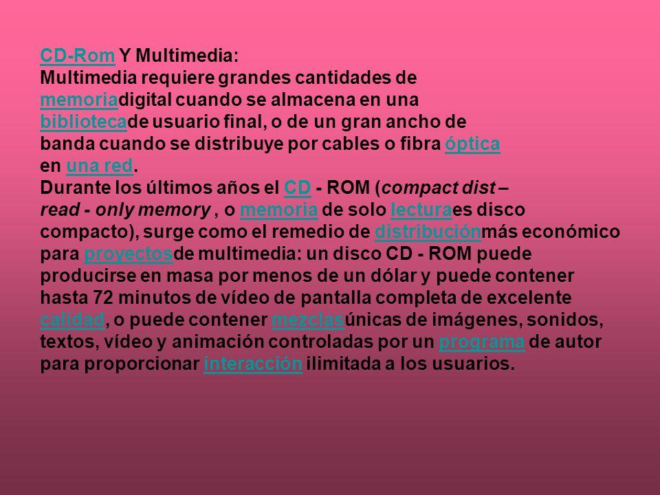 CD-Rom Y Multimedia: Multimedia requiere grandes cantidades de. memoriadigital cuando se almacena en una.