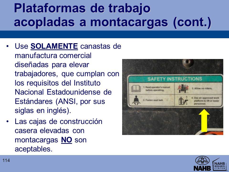 Plataformas de trabajo acopladas a montacargas (cont.)