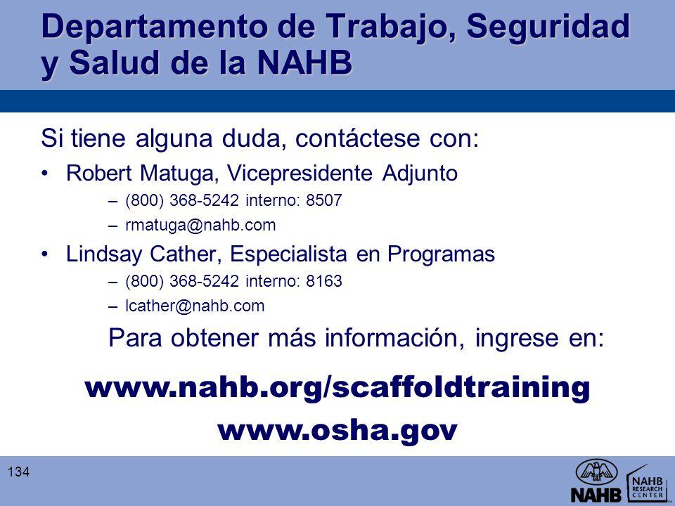 Departamento de Trabajo, Seguridad y Salud de la NAHB