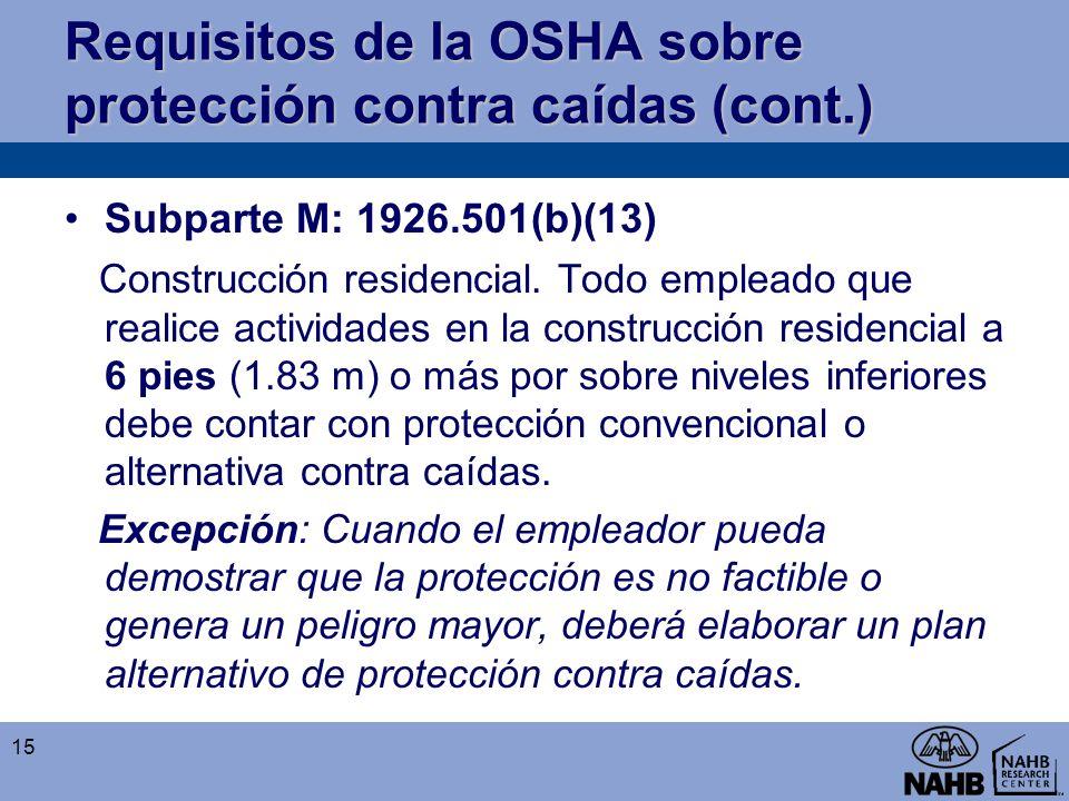Requisitos de la OSHA sobre protección contra caídas (cont.)