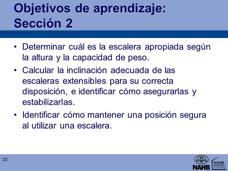 Objetivos de aprendizaje: Sección 2