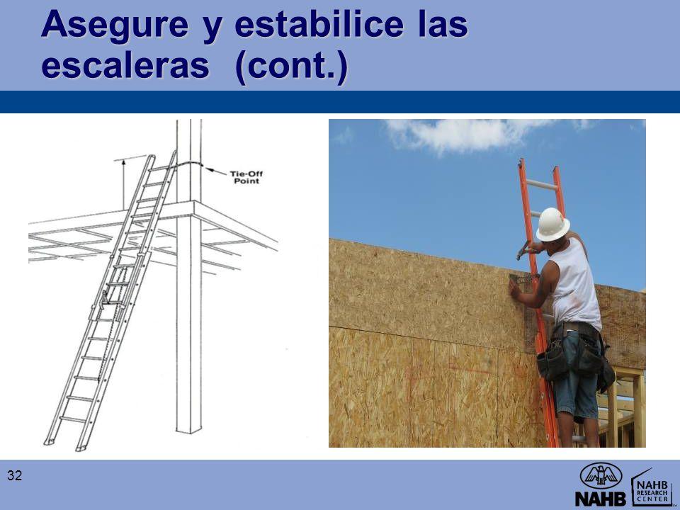 Asegure y estabilice las escaleras (cont.)