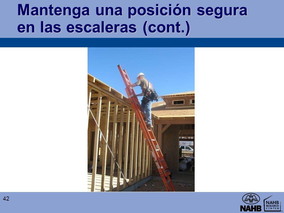 Mantenga una posición segura en las escaleras (cont.)