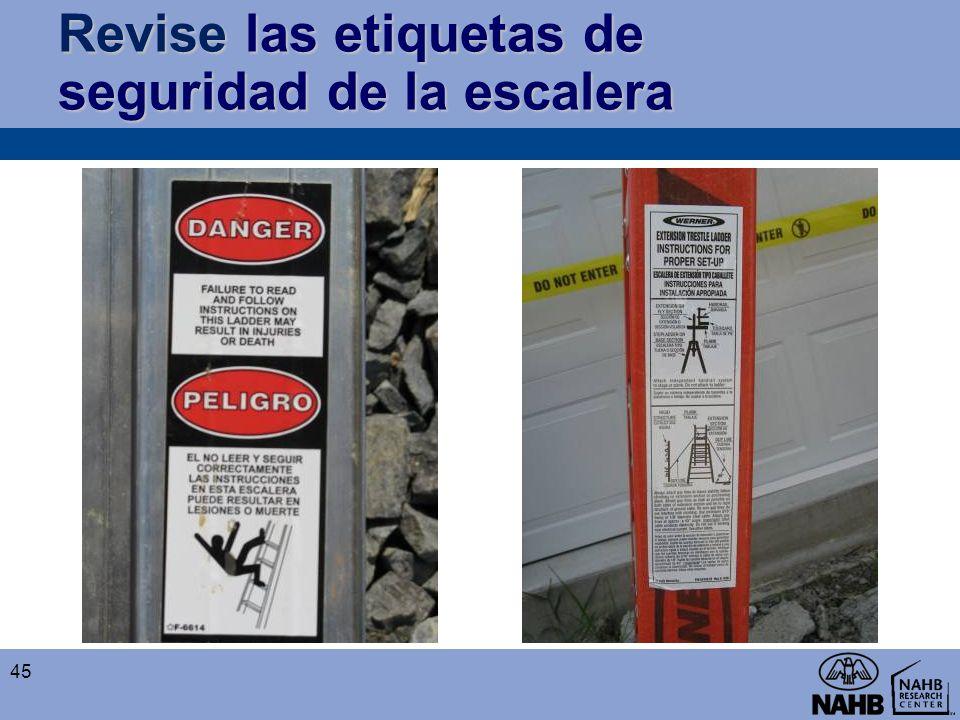 Revise las etiquetas de seguridad de la escalera