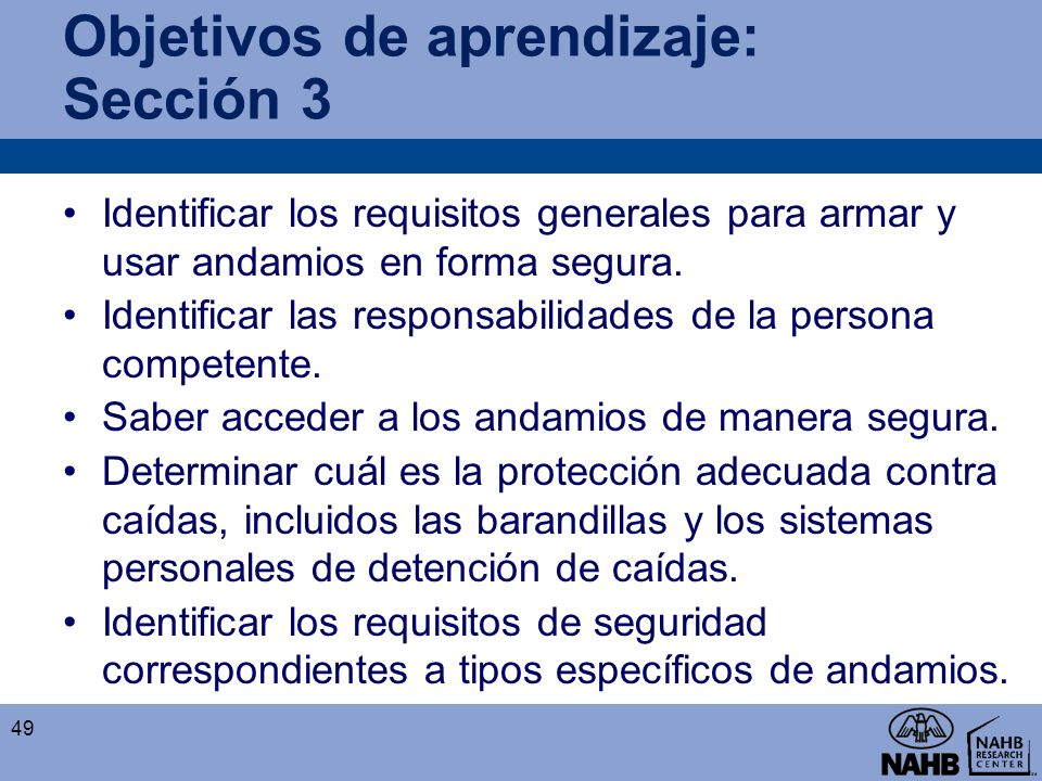 Objetivos de aprendizaje: Sección 3