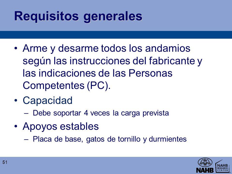 Requisitos generales Arme y desarme todos los andamios según las instrucciones del fabricante y las indicaciones de las Personas Competentes (PC).