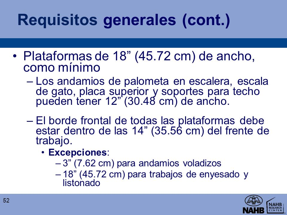 Requisitos generales (cont.)