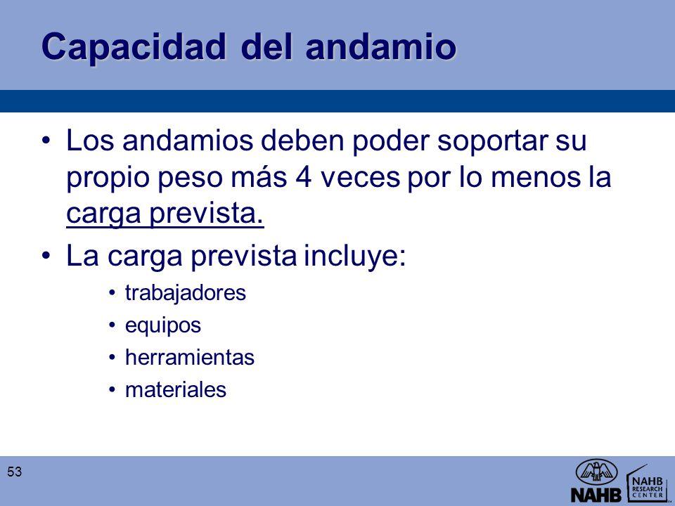 Capacidad del andamio Los andamios deben poder soportar su propio peso más 4 veces por lo menos la carga prevista.
