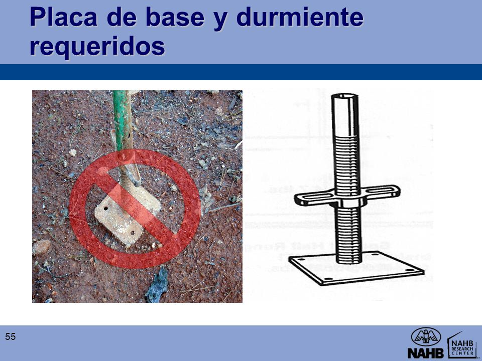 Placa de base y durmiente requeridos