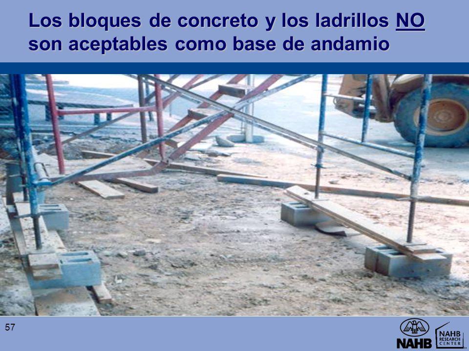 Los bloques de concreto y los ladrillos NO son aceptables como base de andamio