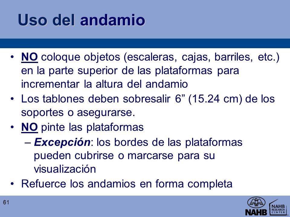 Uso del andamio NO coloque objetos (escaleras, cajas, barriles, etc.) en la parte superior de las plataformas para incrementar la altura del andamio.