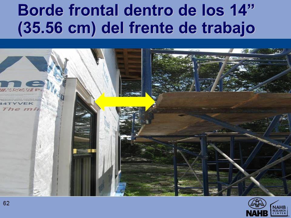 Borde frontal dentro de los 14 (35.56 cm) del frente de trabajo