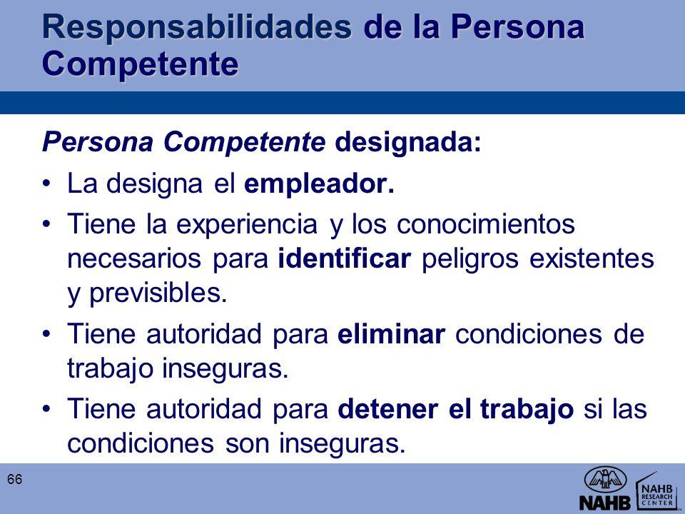 Responsabilidades de la Persona Competente