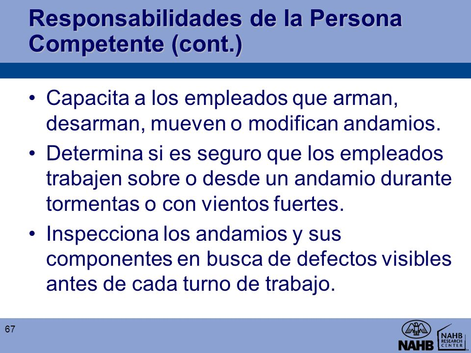 Responsabilidades de la Persona Competente (cont.)