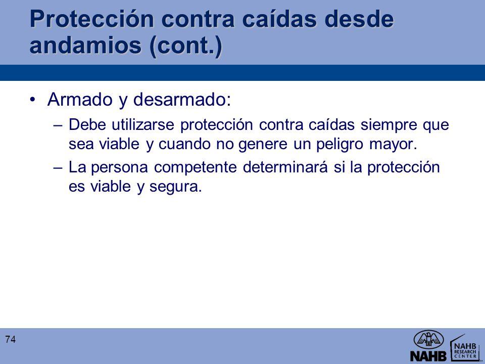 Protección contra caídas desde andamios (cont.)